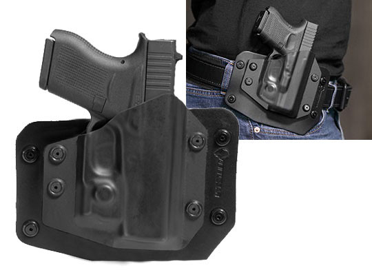 wearing a Glock 43 with Viridian Reactor R5 Green/Red Laser ECR outside the waistband