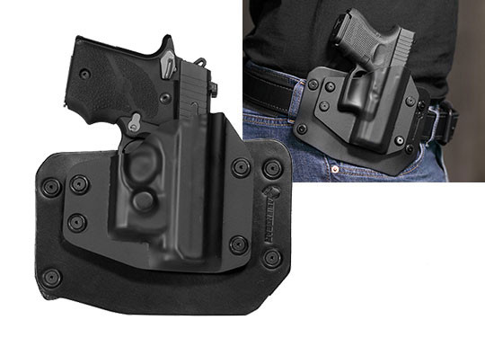 Sig P938 with Viridian Reactor R5 Green/Red Laser ECR Outside the Waistband Holster