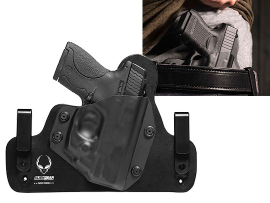 Wearing Hybrid Leather S&W M&P Shield 40 caliber LaserMax CenterFire Laser Holster