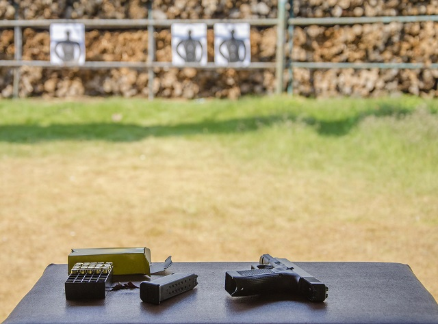 handgun training at the gun range
