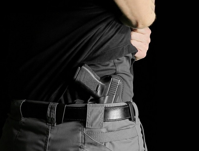 man wearing a holster