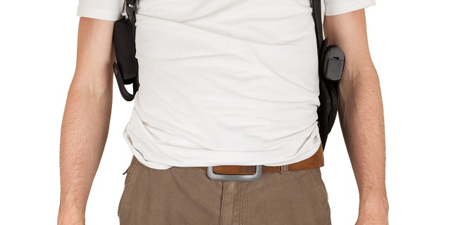 shoulder holster being worn