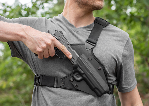 1911 Railed - 4 inch with Crimson Trace grips Cloak Chest Holster