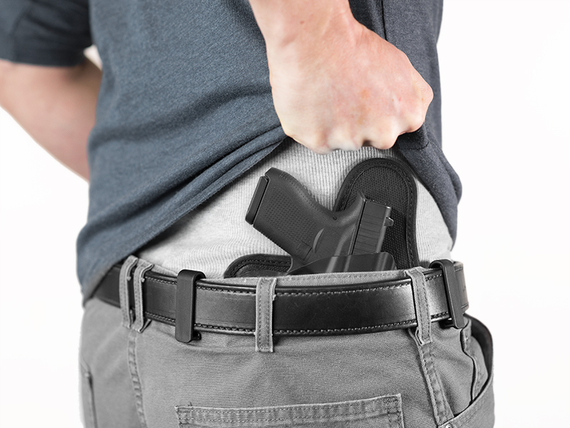 sw mp shield 45 caliber holster view of iwb carry