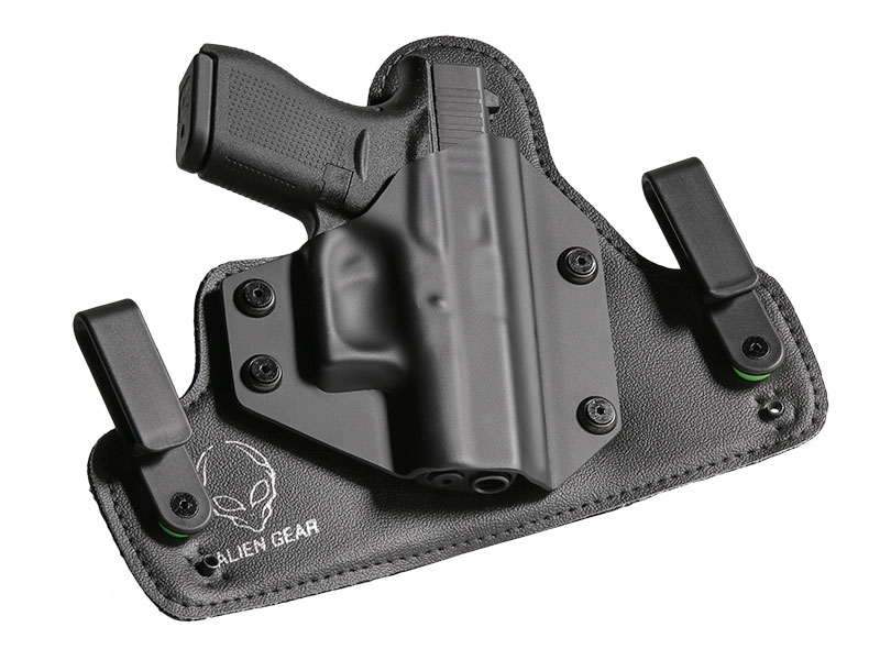 Leather Hybrid S&W M&P Shield 40 caliber with Viridian Reactor R5 Tactical Light ECR Holster