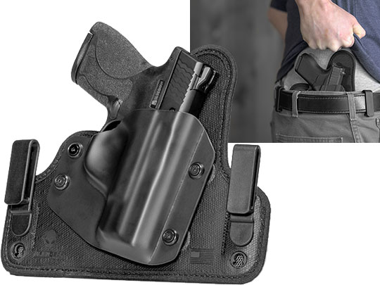 Glock - 19 with Crimson Trace Rail Master Pro CMR-204/205 Cloak Tuck 3.5 IWB Holster (Inside the Waistband)
