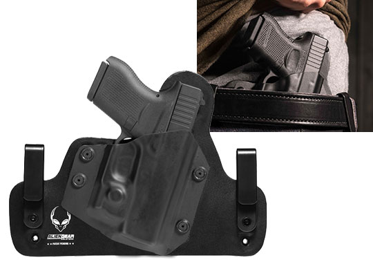 Hybrid Leather Holster For Glock 43 with Viridian Reactor R5 Green/Red Laser ECR