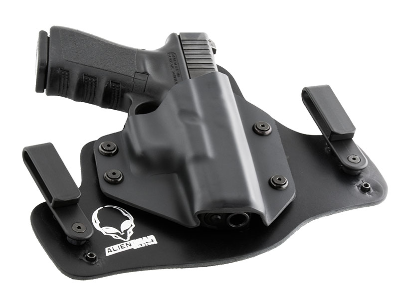 Leather Hybrid S&W M&P Shield Performance Center with Viridian ECR Reactor Tactical Light Holster