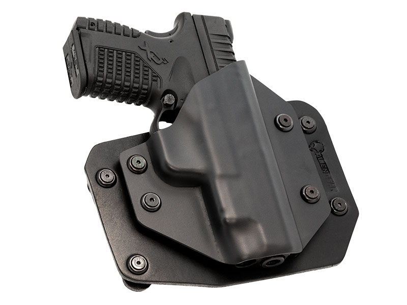 S&W M&P Shield Performance Center with Crimson Trace Green Laser LG-489G Outside the Waistband Holster