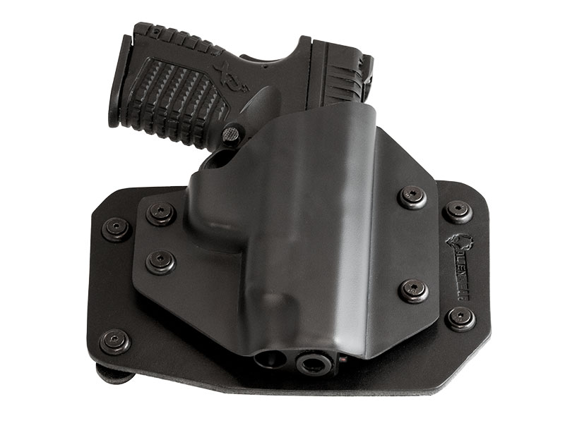 Good Glock 19 with Crimson Trace Defender Laser DS-121 OWB Holster