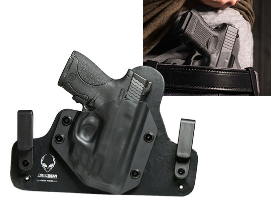 Hybrid Leather S&W M&P Shield 9mm Crimson Trace Red Laser LG-489 Holster