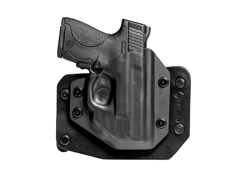 Outside the Waistband Leather S&W M&P Shield 9 Crimson Trace Red Laser LG-489 Holster in Black Leather