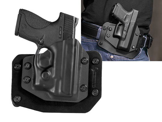 Outside the Waistband Holster for S&W M&P Shield 9mm with Viridian Reactor R5 Green/Red Laser ECR