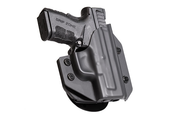S&W M&P Shield Performance Center with Viridian ECR Reactor Green/Red Laser OWB Paddle Holster