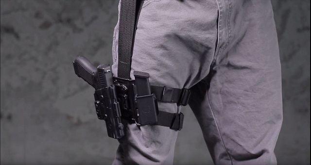 combat ready tactical drop leg holster at 3 o'clock position