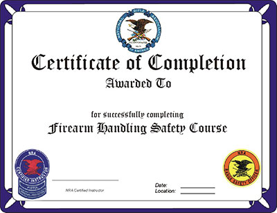 A certificate of completion from an NRA course