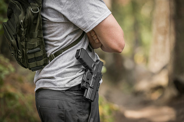 The ShapeShift Paddle Holster Outside the Waistband configuration