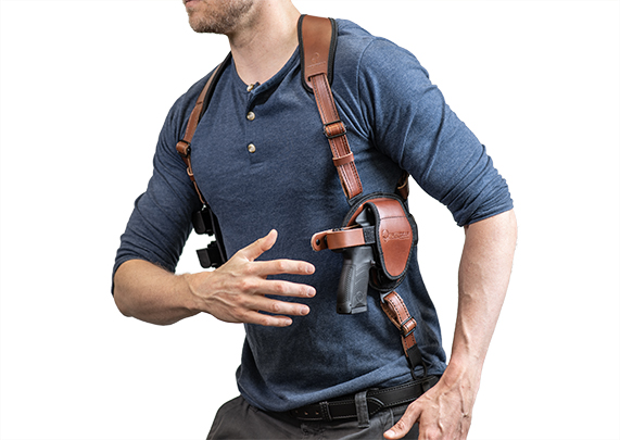 1911 Railed - 4.25 inch with Crimson Trace grips shoulder holster cloak series