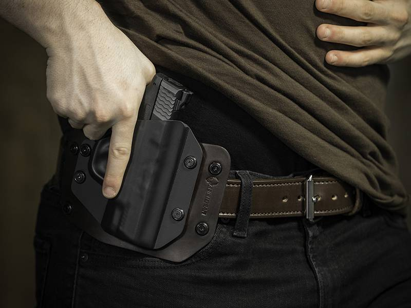 1911 Railed - 5 inch with Crimson Trace grips Cloak Slide OWB Holster (Outside the Waistband)