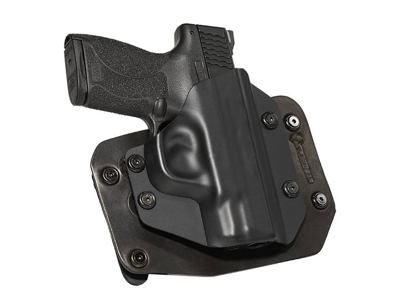 S&W M&P Shield 9mm with Viridian Reactor R5 Green/Red Laser ECR Outside the Waistband Holster