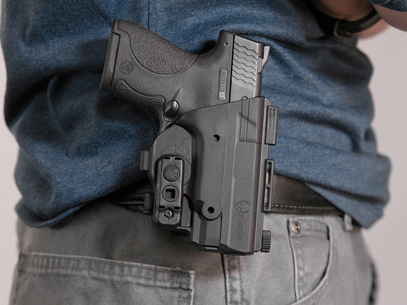 wearing the paddle holster for shield