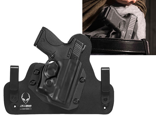 Hybrid Leather S&W M&P Shield 9mm with Viridian Reactor R5 Green/Red Laser ECR Holster