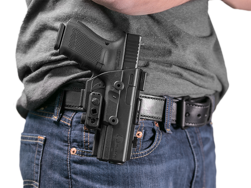 wearing the ruger lc9s owb paddle holster