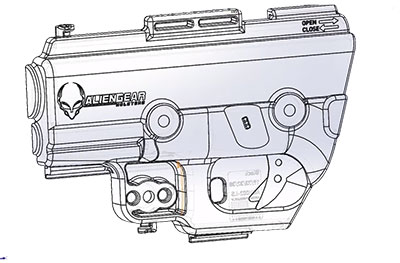 The digital file used for injection molding holster shells