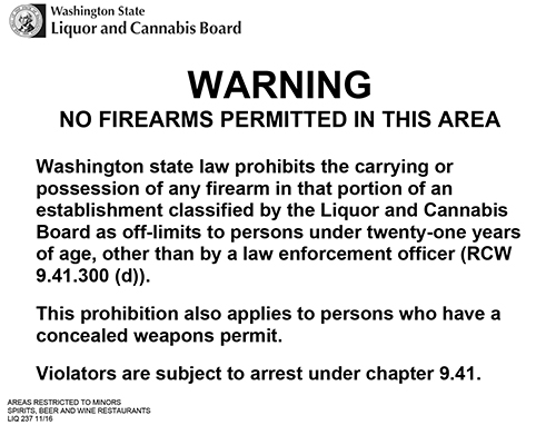 Locations restricting concealed carry due to alcohol