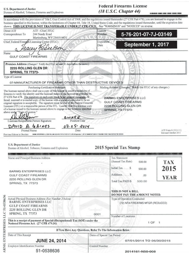 Example of an FFL License