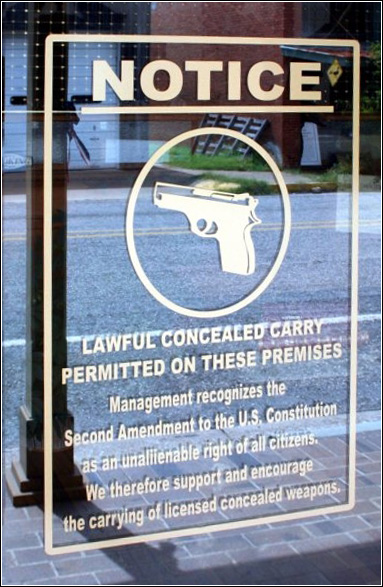 management recognizing lawful concealed carry